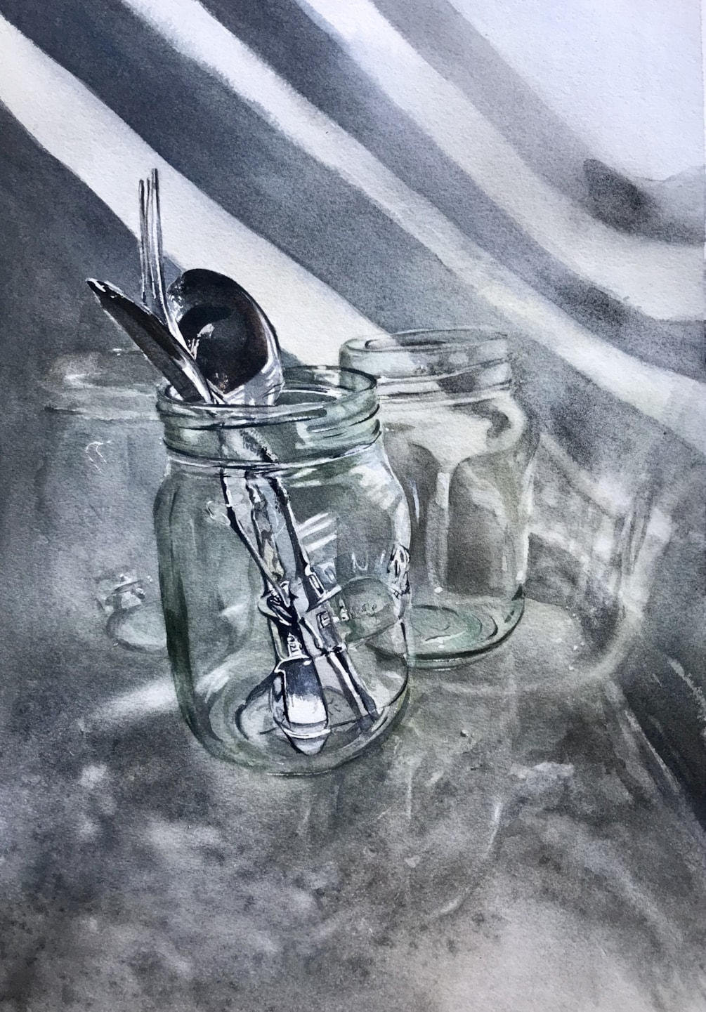 More glass and cutlery