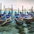 Gondolas at rest, Venice
