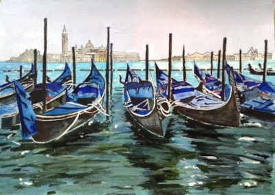 Gondolas at rest, Venice