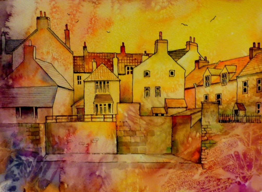 Staithes cottages on the harbour wall