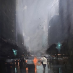 Evening showers - oil on canvas.