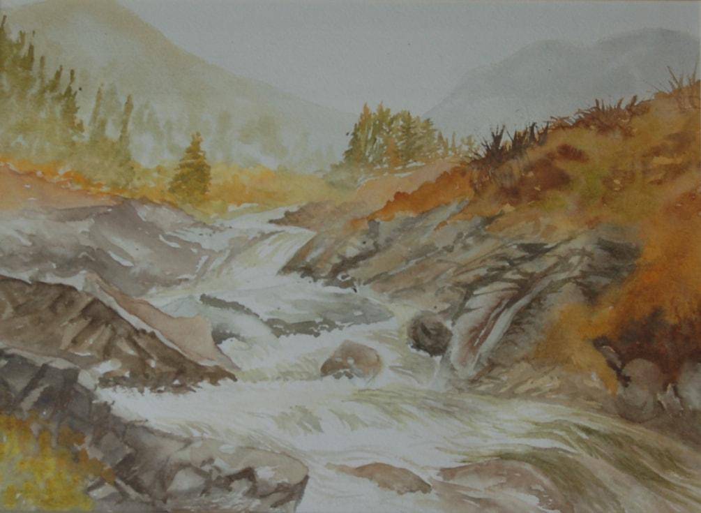 """""""Ruapehu waterfall """"  in watercolour."""