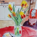 Tulips in Rosie's kitchen (2nd go)