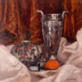 SILVER URN WITH SATSUMA