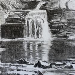 West Burton Falls, charcoal sketch