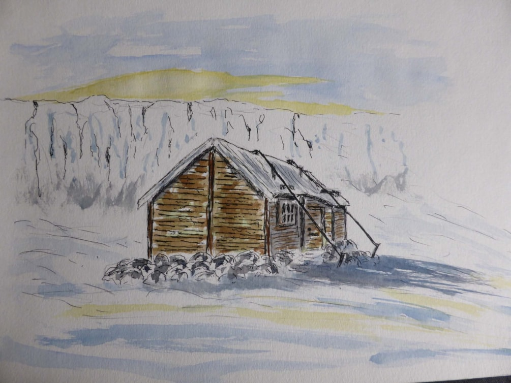 Jeans Hut Ghost of the past. pen and wash sketch