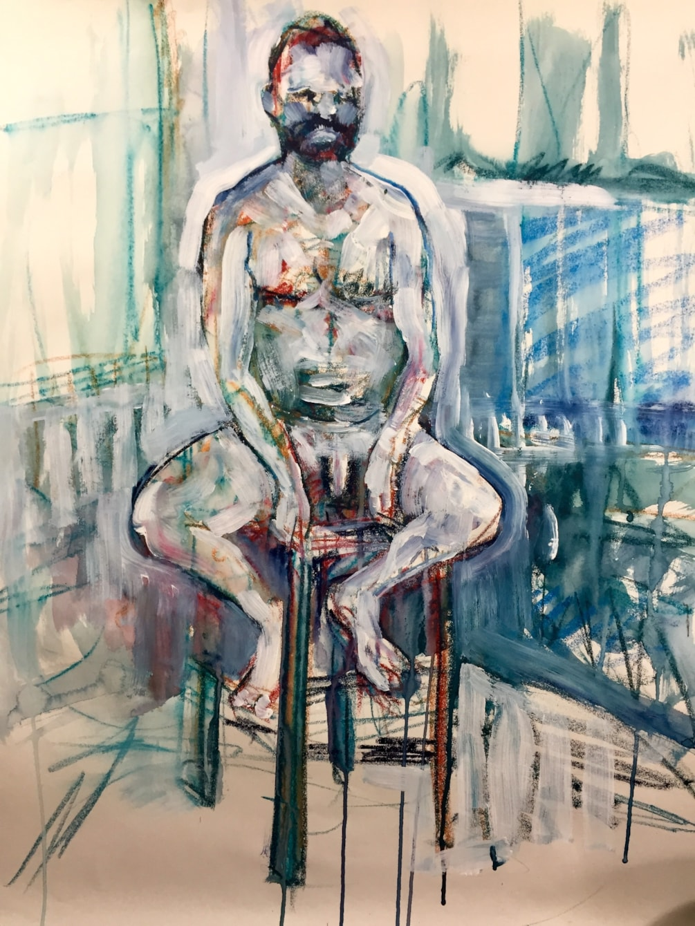 Life drawing class today, Ink, Artbar and white paint on A2