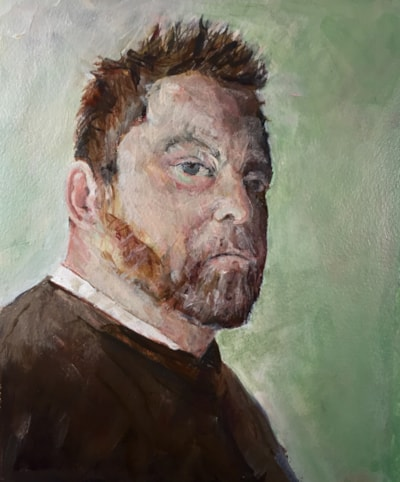 Self portrait with dishevelled hair, acrylic on 22.6x18.7 canvas board