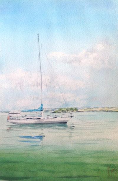 Roger's Yacht moored off Waikheke
