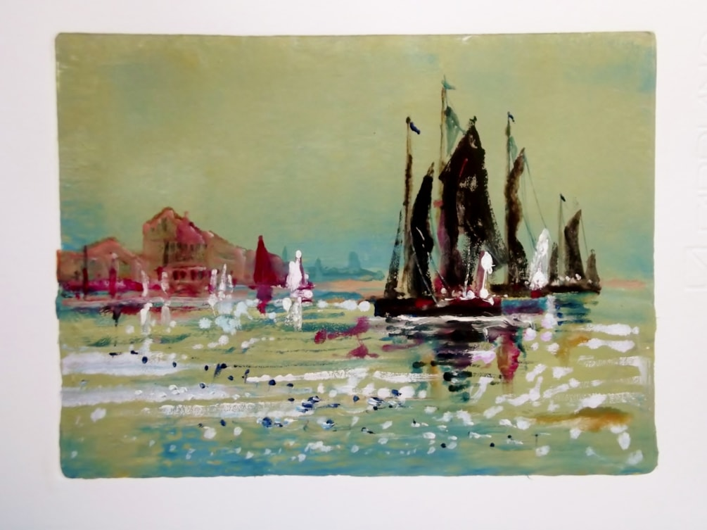 Monotype - Thames Barges at PIn MIll.