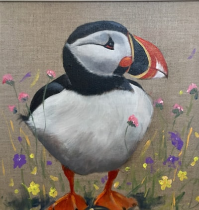 Puffin and wild flowers