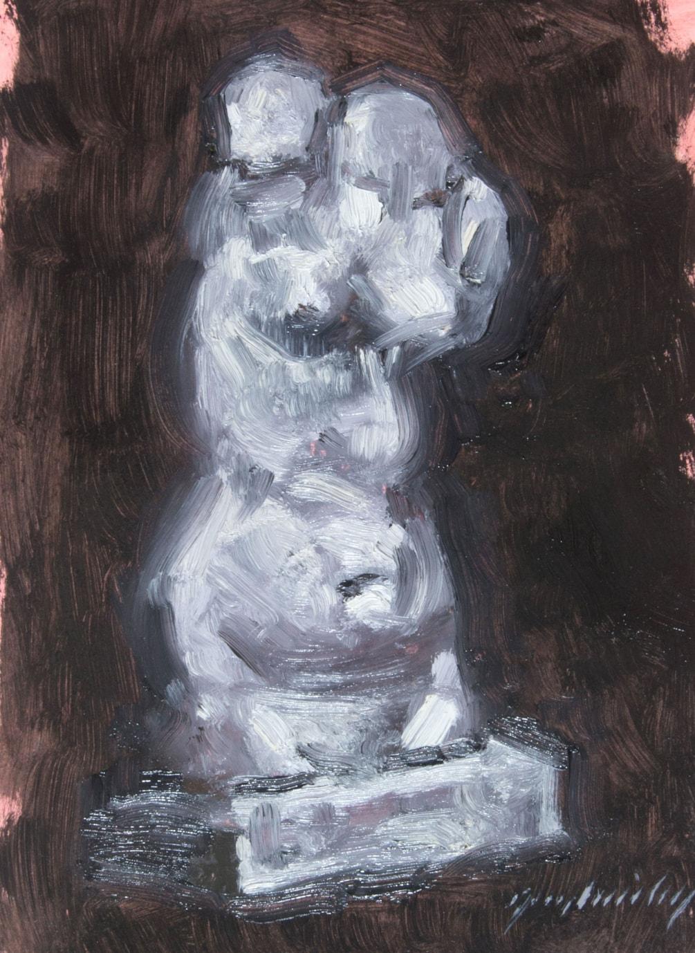 Oil study of plaster cast bust
