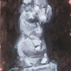 Oil study of plaster cast bust