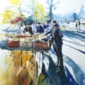 Southbank Bookstall Watercolour 33 x 44cm