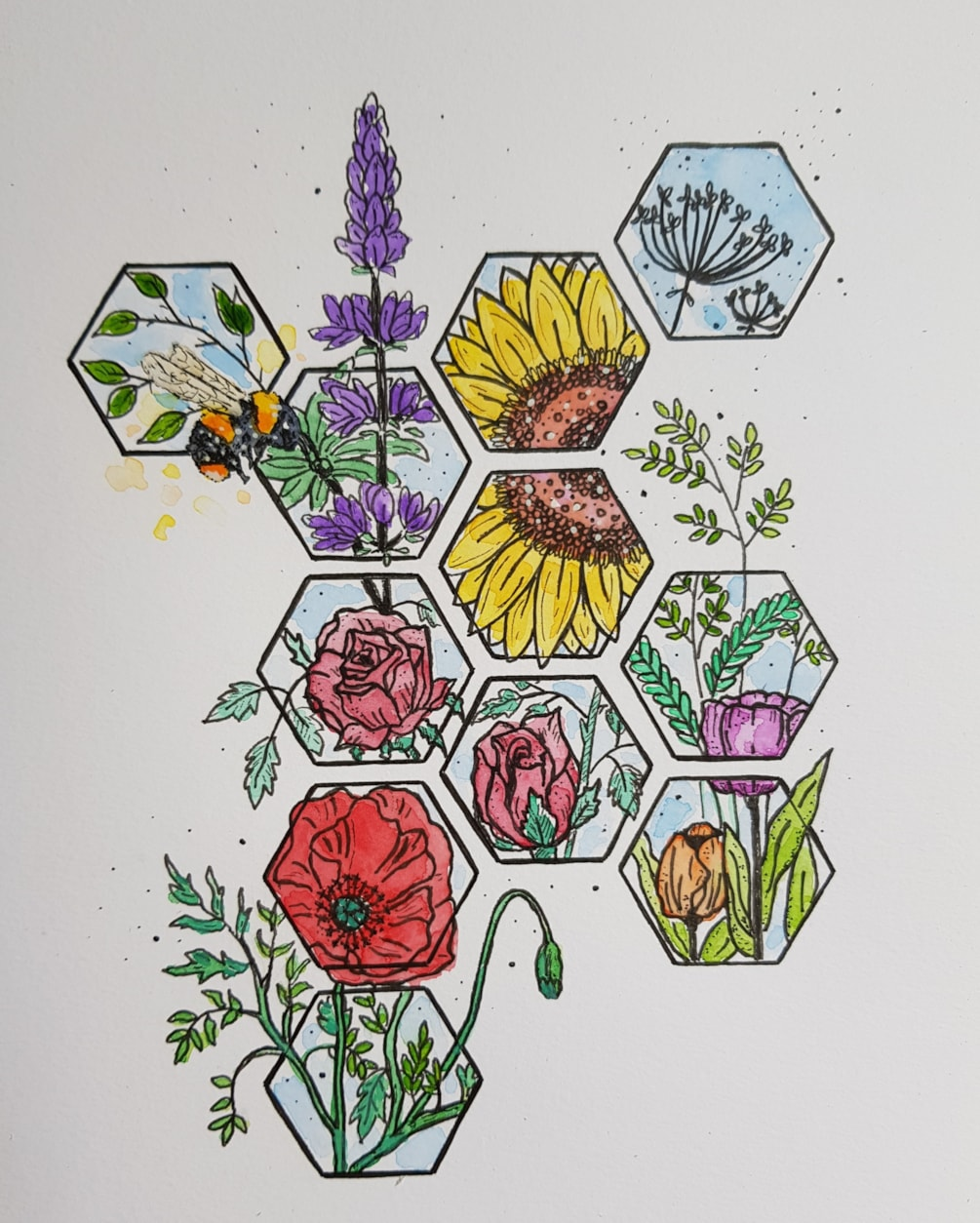 The bee and the Honeycomb flowers