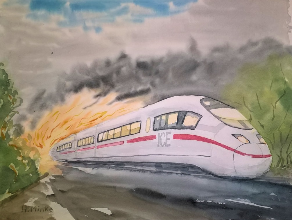 The Pride of the German Railway System burning