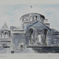 Spanish Church - Monoprint - Oil