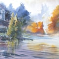 National Trust Stourhead revisited mixed media 70 x 28 cm