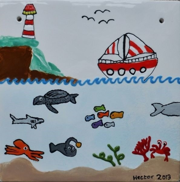 Ocean Life - Painting on Ceramic by Hector aged 12