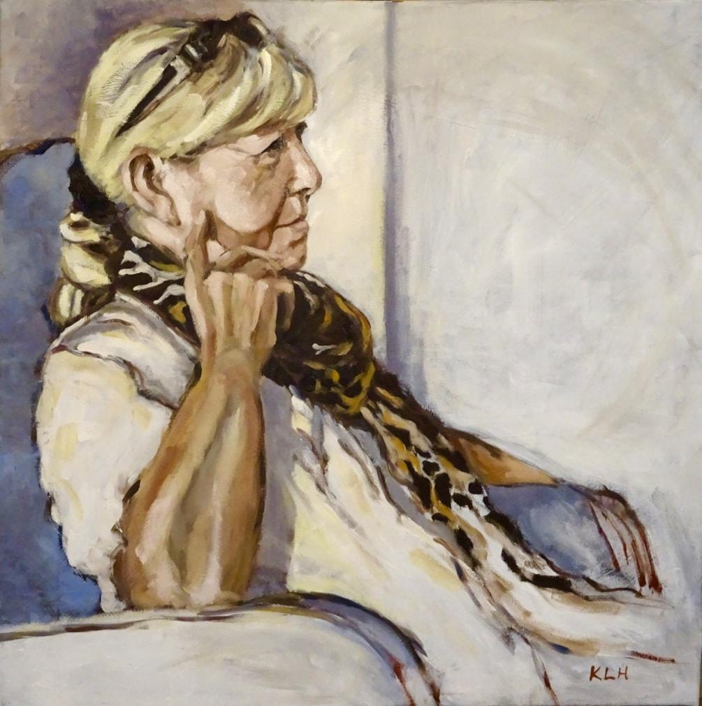 Woman wearing patterned scarf