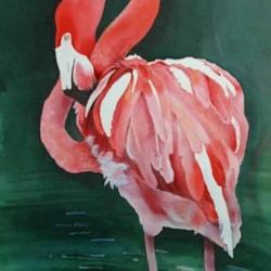 Flamingo Preening,  an original silk painting