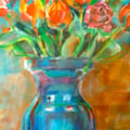 Blue glass vase in acrylic inks