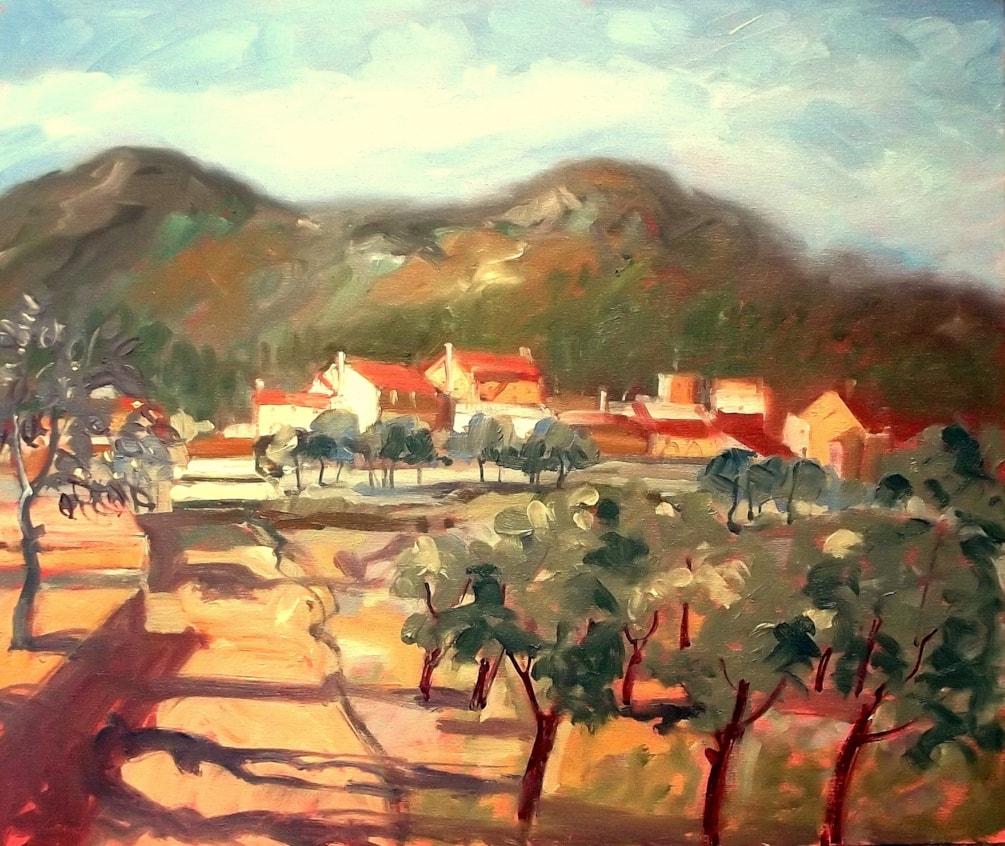 The Path to Jalon Village 2 - En-plein-air oil sketch.