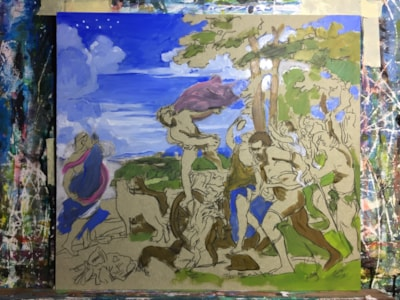 Titchy Titian in progress (Bacchus and Ariadne)
