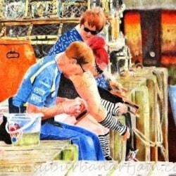 Gone Crabbin' (77cm x 50cm Framed) - Derwent Coloursoft on Hahnemuhle Andalucia 500g board