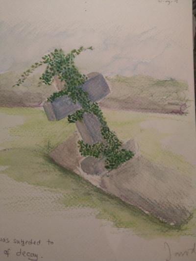 Fallen headstone, St Mary, Alderbury.