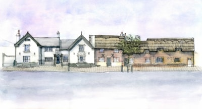 The Old Hall hotel and thatched cottages, Frodsham