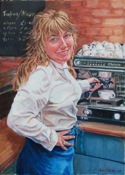 Sara at the Maya Cafe, Oil 70cmsX50cms