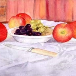 FRUIT AND BOWL WITH KNIFE ON CREASED CLOTH.