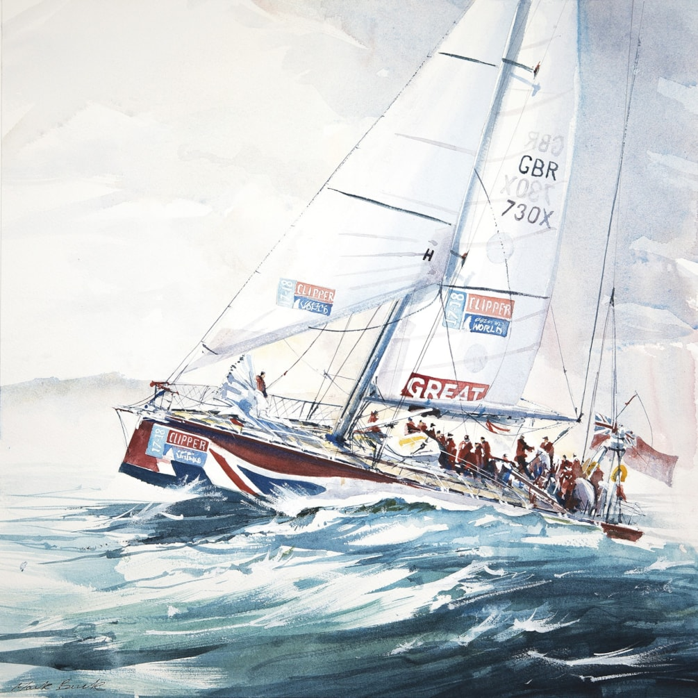 Yacht Great Britain in Clipper Round the World, watercolour