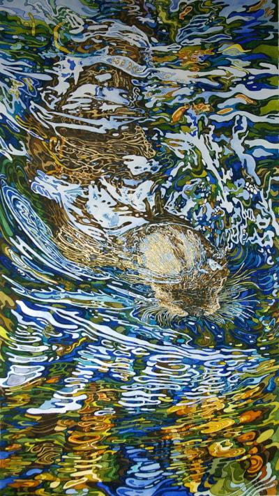 Otter under water
