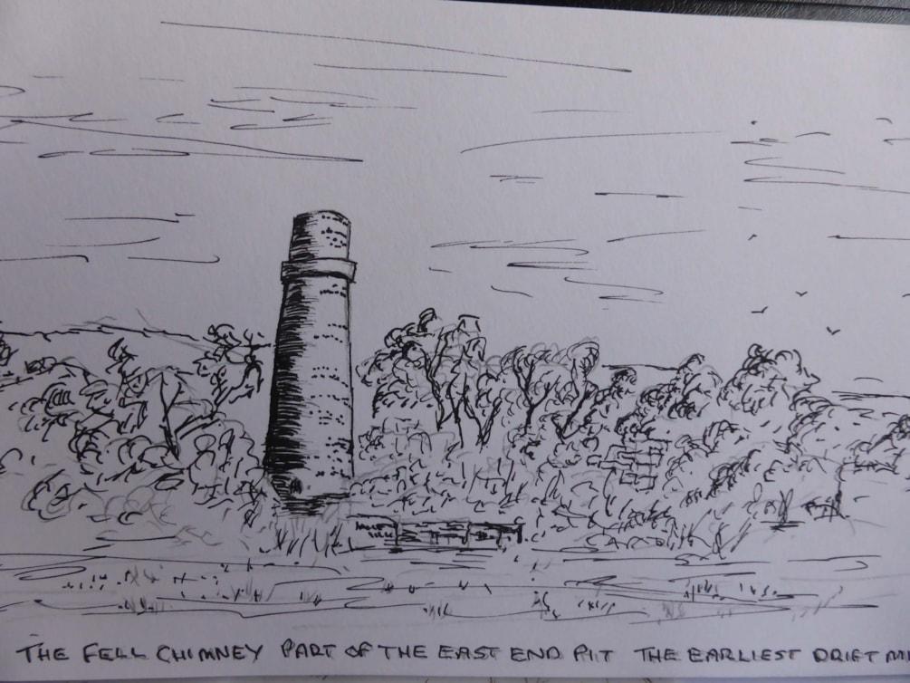 Fell Chimney. pen and ink sketch en plein air.