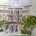 Urban sketch  'Raffles' Singapore