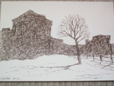 Portchester castle Landgate before the snow