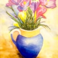 Crocuses in a blue jug