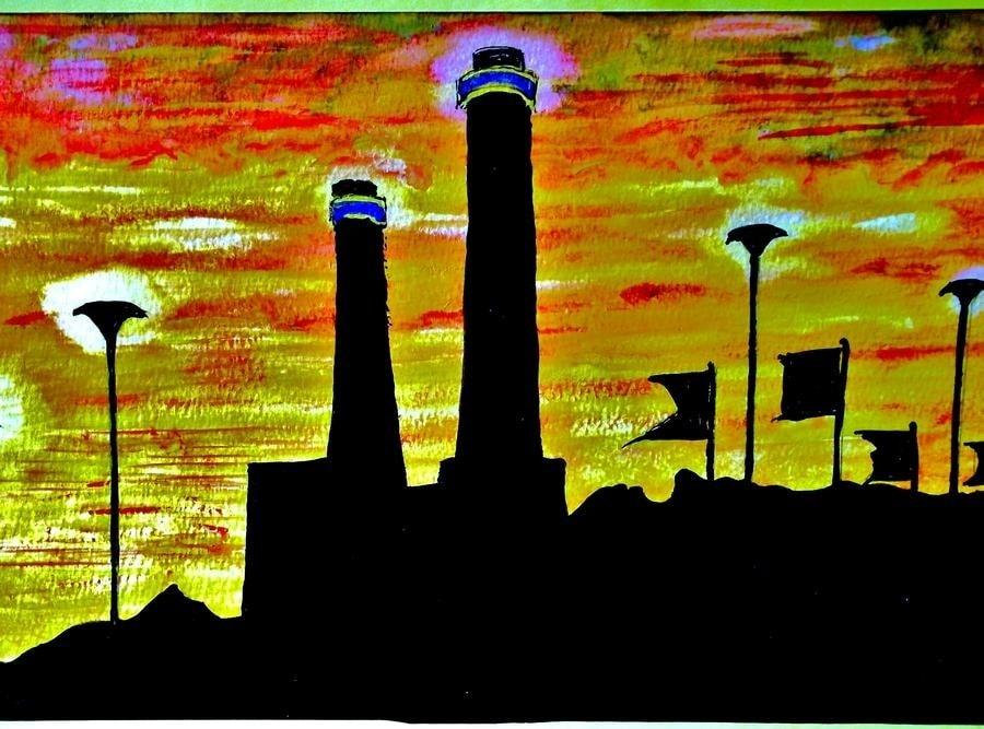 The Ikea Towers,Croydon, at Sunset