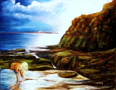 Girl looking for crabs on Amble Beach 12 x 16  by Carole D Kelly
