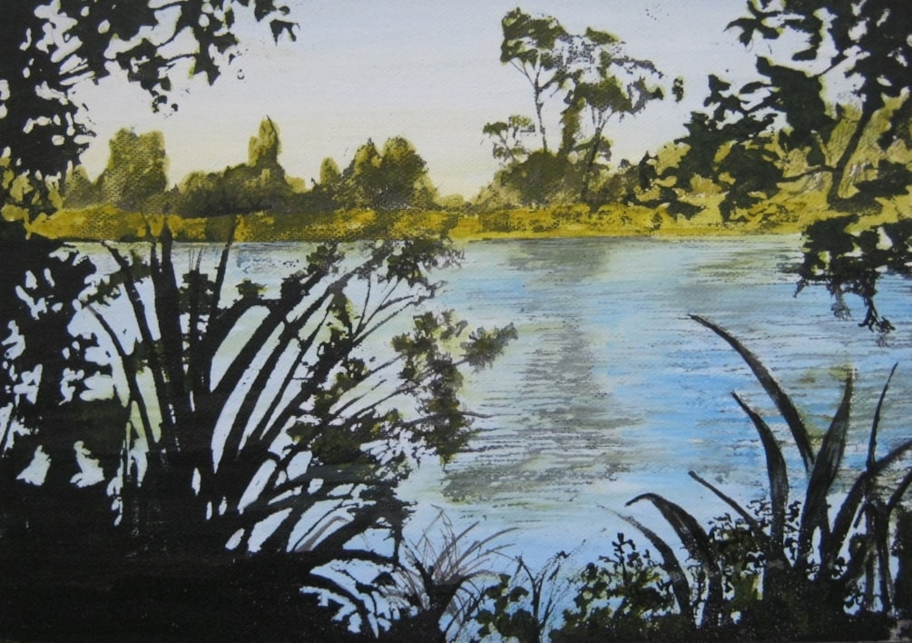 """Round Westmere lake"" mixed media ink."