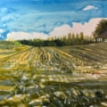 Maize stubble off A34 near Redes Mere #2. Acrylic ink on A2