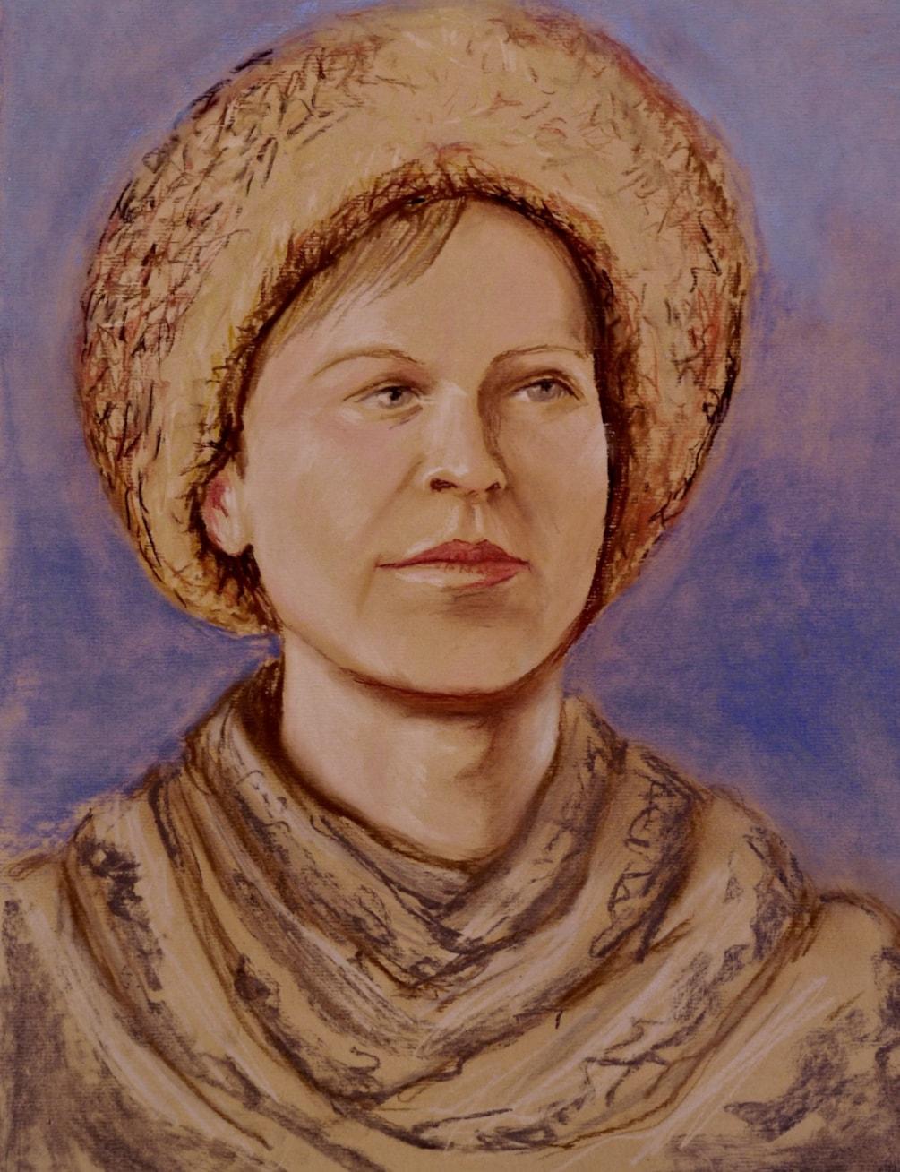 Dagmar in her sheepskin hat