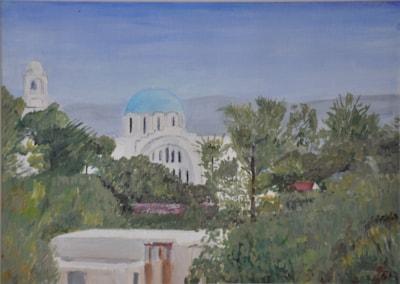 Skala Church, Agistri, from Taverna Andreas