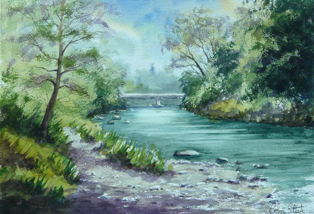 River Wye, Newbridge-on-Wye, Powys. Painting size 25cm x 36cm.