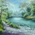 River Wye, Newbridge-on-Wye, Powys. Painting size 25cm x 36cm.