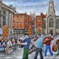 Hyde Family Jam Buskers in St Helen's Square - York