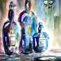 Three blue bottles and a moth....