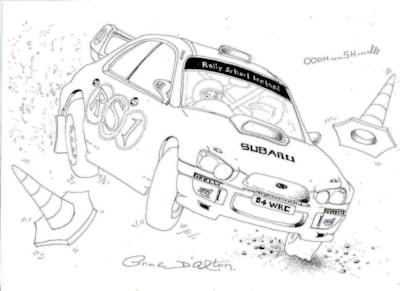 Anne's lst effort in a Subaru Impreza WRC